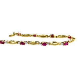 Jewelry - 14 Karat Diamond and Ruby Ladies Bracelet